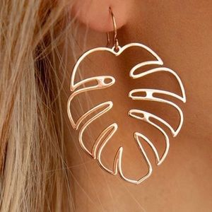 Philodendron tropical leaf earrings plant gold